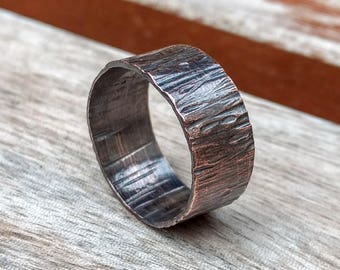 Wide Copper Ring Rustic Copper Ring Unisex Copper Ring Men's Ring 7th Anniversary Ring Tree Bark Ring Arthritis Ring Hammered Ring
