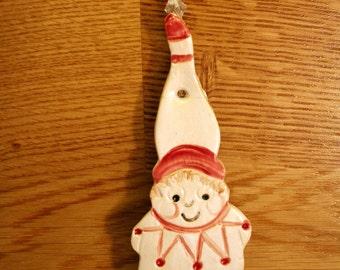 Santa's Elf Christmas Decoration, Pottery Xmas Decor, Tree Decor, Stocking Filler, Handmade, Christmas Bauble, Xmas  Ornament, Secret Santa.