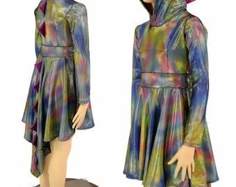 Long Sleeve Dragon Hooded Skater Dress w/Dragon Tail Hemline Girls 2T-12 Velvet Oil Spill w Fuchsia Sparkly Jewel Spikes & Hood Liner 154991