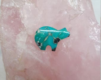 Small Blue Gem Turquoise Bear Cabochon/ backed
