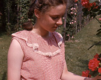 Vintage Red Border Kodachrome Photo Slide Pretty Young Girl Looking at Red Roses 1940's, Original Found Photo, Vernacular Photography