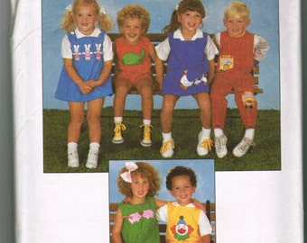 Simplicity 8531, Toddler Boy Girl, Dress, Romper, Jumpsuit, Jumper, Applique,Size 2, 3, 4