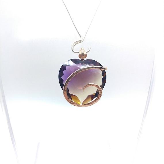 Ametrine Necklace | Simple Gemstone Pendant | 14kt Rose Gold Fill | Faceted Ametrine | Heart Shape | Ametrine Pendant | Ametrine Jewelry