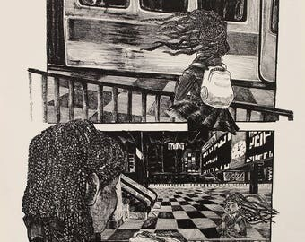 The Girl on the Train (Litho print)