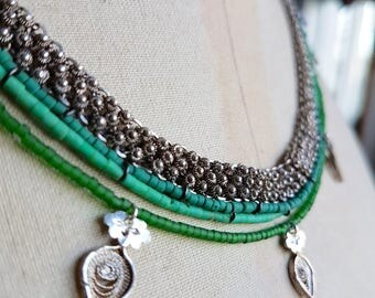 Silver And Turquoise Bohemian Layer Necklaces