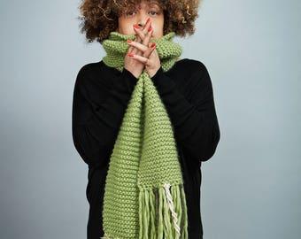 Long green scarf, Merino Wool, handmade - Handmade Green merino wool scarf