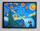 Van Gogh -Ku / Goku Vs. Vegeta Starry Night Print