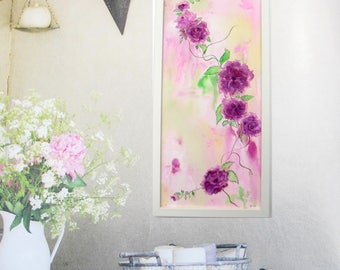 """Fine art, original painting 9,8 x 20,5 inches ( 25/52 cm ) """"Roses of May 8"""", painting flowers, watercolor and ink on paper in white frame."""