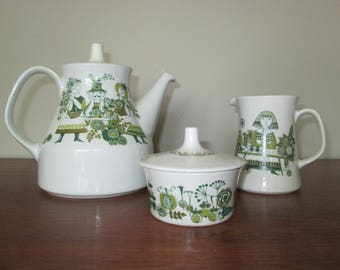 Figgjo Market Norway Teapot Creamer Sugar Bowl Set Turi Design Norwegian Pottery Vintage 1970s Scandinavian