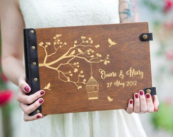 Wedding Album, Photo Album, Photo Guest Book, Custom Album, Wedding Guest Book, Wedding Guestbook, Wooden Guest Book, Guest Book, Birds