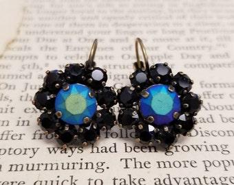 JET – Jet Custom Pastel and Jet black flower earrings on leverbacks