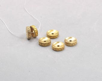 10Pcs, 14mm Rondelle 卐 Raw Brass Beads , Hole Size 2.5mm , GY-G033