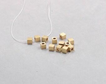 30Pcs, 5mm Raw Brass Cube Beads , Hole Size 2.5mm , SJP-A115