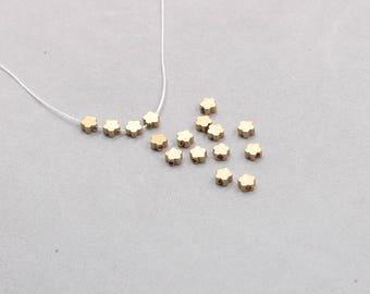 50Pcs, 5mm Raw Brass Flower Beads , Hole Size 1mm , SJP-A041