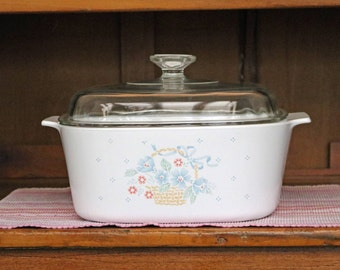 "5 Liter/Qt. ~ ""Country Cornflower"" ~ Corning Ware ~ Casserole/Dutch Oven/Roaster with Domed Clear Glass Pyrex Lid"