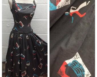 """CUTE 1950's Novelty Dancer Print """"Junior Time of California"""" Drop Waist Dress - VLV - Size S"""