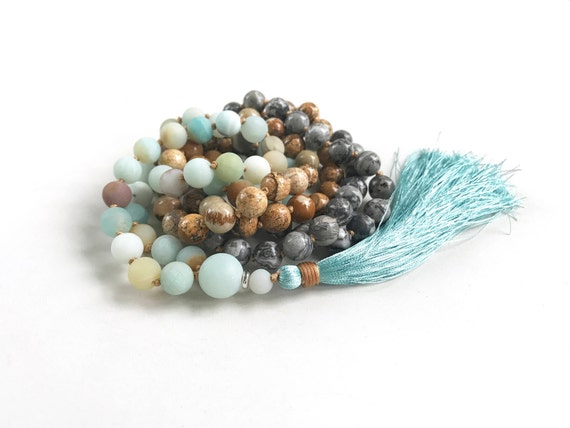 Amazonite And Jasper Mala Beads, Knotted 108 Bead Mala, Healing Mala Beads, Original Mala Necklace, Designer Gemstone Mala, Yoga Beads