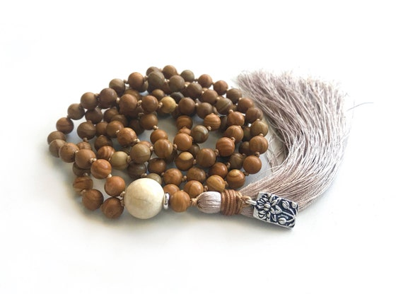 Natural Jasper Mala Beads, Silk Tassel Necklace,  Long Knotted Tassel Mala, River Stone Mala, Yoga Meditation Beads, Bohemian Necklace
