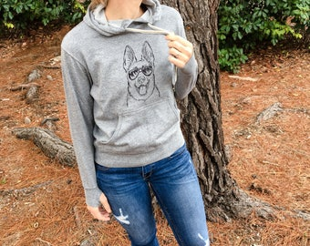 Brutus the German Shepherd Hoodie - Grey French Terry - Unisex Slim Fit