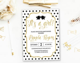 Baby Shower Invitation Bow, Its a girl baby shower invitation, gold glitter baby shower invite, white and gold baby shower invite