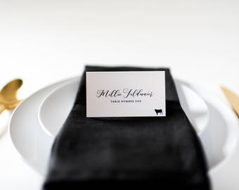 millie place cards / escort cards (sets of 10) // flat or folded wedding place cards / black calligraphy neutral modern classic