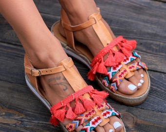 "Genuine greek leather sandals, espadrilles wedges, Handcrafted sandals, ""Ibiza"" sandals"