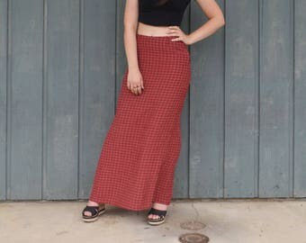 Small Red Plaid Maxi Skirt