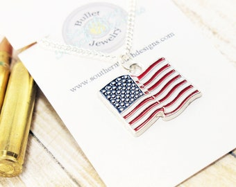 American Flag Necklace - Patriotic Necklace - 4th of July - Fourth of July - Red White and Blue Jewelry - Usa Necklace - Stars and Stripes