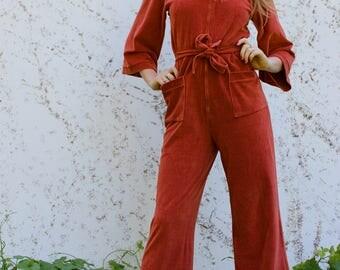 VTG 70's Orange Velvet Velour Jumpsuit Disco Flare Hippie Boho 1970's Strech