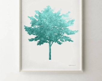 Teal Blue Tree Turquoise Art Print PRINTABLE 16x20 Print For The Home  Office Decor, Teal Part 58