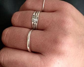Stacking name ring | personalized name or word custom hand stamped ring | simple dainty sterling silver ring  | initial ring | quote ring