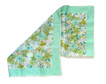 Vintage Mint Green Floral Silk Square Scarf 23 x 23