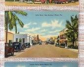 Miami, Florida, vintage postcards, lot of 3, 1930's-1950's, Lincoln Road, Little River, Sherborne, Nautilus, Miami Kitsch, Miami Hotels