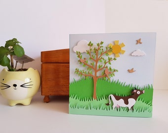 Daisy in the Meadow | traditional scenic handmade greeting card, cow, farm, English, countryside