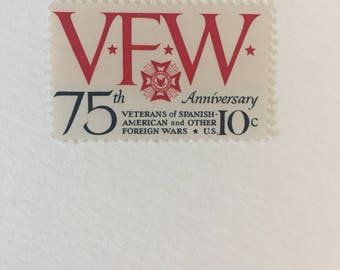 10 Veterans of Foreign Wars 10c US postage stamps unused - Vintage 1974 - Red White Blue VFW