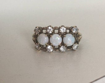Vintage 14K Yellow Gold Three-Stone Opal and Diamond Halo Engagement Ring - Size 6
