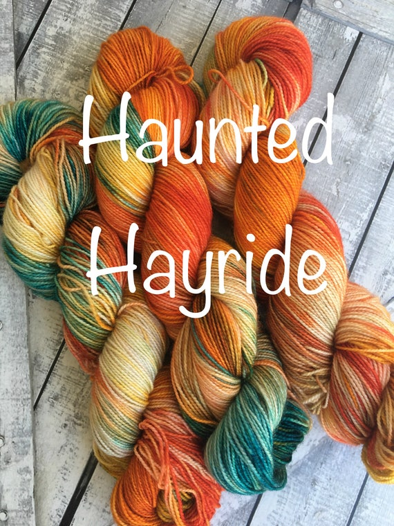 Hand Dyed Yarn,Haunted Hayride, Fingering Weight,2 ply,80/20 Superwash Merino,100 gram,indie dyed yarn,Halloween Yarn,Toad Hollow yarns