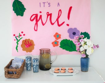 It's A Girl! Baby Shower Banner