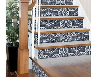 "Stair Riser Stickers - Removable Stair Riser Vinyl Decals - Provence Pack of 6 in Indigo - Peel & Stick Stair Riser Deco Strips - 48"" long"