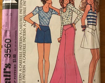 McCalls 3560 - 1970s Scoop Neck Top and Yoked A Line Skirt, Shorts, and Wide Legged Bell Bottom Pants - Size 12 Bust