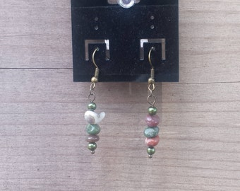 India Agate Earrings, Gemstone Earrings, Earthy Beaded Earrings, Healing Stones, Chakra Earrings, Dangle Earrings - 00091