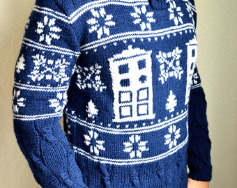 Hand knitted men's ''Dr. Who'' sweater