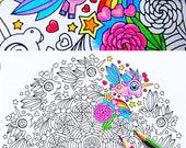 Unicorn Frolic - mandala coloring page for adults and big kids, cute kawaii printable