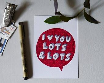 I Heart You Lots & Lots - Postcard