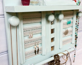 "Jewellery organiser with shelf - 19"" - Lace for earrings - Jewelry organizer - Velour rings studs box - Mirrors - Bangle bar - Wooden knobs"