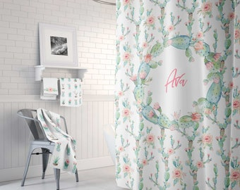 personalized shabby chic shower curtain custom shower curtain extra long shower shabby chic bathroom decor decor - Bathroom Designs With Shower Curtains