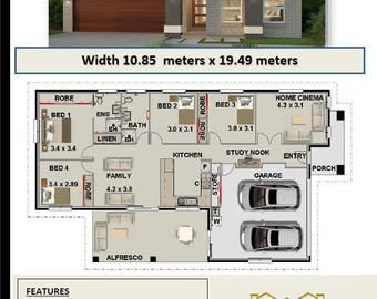 182.2 m2 Violet   | Narrow Lot 4 Bedroom Concept house plans | For Sale