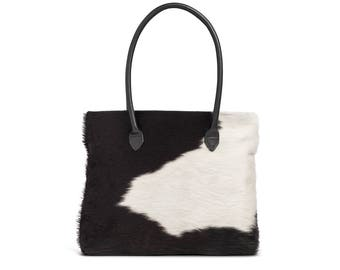 Black and White Cowhide Bag | Black Cowhide Bag | Black and White Tote | Cowhide Bags
