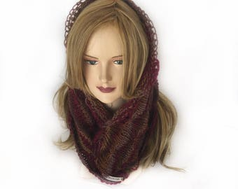 Women's crochet infinity scarf, hand made cowl scarf, circle scarf, Gift for her, fashion accessories, women's scarf, READY TO SHIP