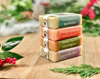 Soap Gift Set, Christmas Gift, 4 Natural Soaps, Vegan Gift, Christmas Stocking Stuffer, Holiday Soap, Handmade Soap, Gift Basket Items